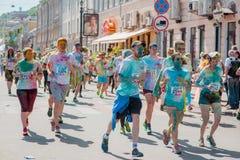 Tirs de reportage de marathon Colorrun Kiev 2017 Photographie stock