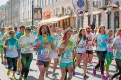 Tirs de reportage de marathon Colorrun Kiev 2017 Image stock