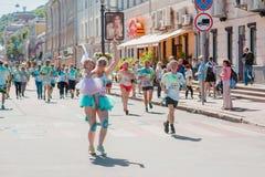 Tirs de reportage de marathon Colorrun Kiev 2017 Photo libre de droits