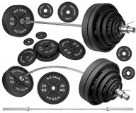 Tirs des barbells et des poids en métal Image stock