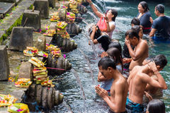 Tirta Empul Hindu Balinese temple with holy spring water in Bali, Indonesia Stock Photography