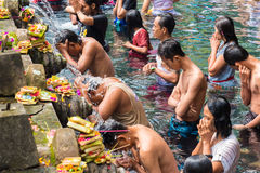 Tirta Empul Hindu Balinese temple with holy spring water in Bali, Indonesia Stock Photos