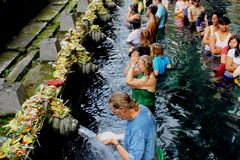 Holy water temple in Bali stock photography