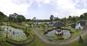 Tirtagangga水宫殿巴厘岛,印度尼西亚全景  免版税库存图片