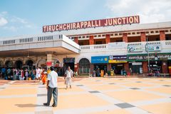 Tiruchchirappalli Junction railway station in Tiruchirapalli, India. Tiruchirapalli, India - January 3, 2018 : Tiruchchirappalli Junction railway station Stock Photography
