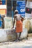 TIRUVANNAMALI, TAMIL NADU, INDIA - MARCH Circa, 2018 . Street photography. Sadhu at Ashram Ramana Maharshi. Sadhu is a holy man, w Royalty Free Stock Image