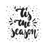 Tis η εποχή - συρμένα χέρι Χριστούγεννα και νέες χειμερινές διακοπές έτους απεικόνιση αποθεμάτων
