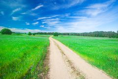 beautiful field and road stock photography
