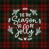 Tis die Jahreszeit, zum lustig zu sein Weihnachtsgrußkarte, Einladung mit Tannenbaumkranz Handmit buchstaben gekennzeichneter wei vektor abbildung