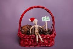 Tis il segno del picchetto di stagione tenuto dalla bambola congiunta del manichino che indossa scena rossa di Natale del canestr fotografie stock