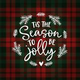 Tis the season to be jolly. Christmas greeting card, invitation with fir tree wreath. Hand lettered white text over. Tartan checkered plaid, winter vector vector illustration