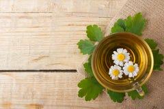 Tisana con la camomilla sulla vecchia tavola di legno Vista superiore Concetto della medicina alternativa Fotografia Stock