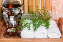 Tisana fresca, quente ainda da vida em uma bandeja com toalhas e ervas nos termas Imagens de Stock