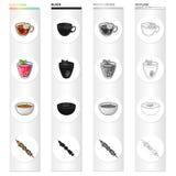 Tisana, geleia da baga, sopa vegetal, no espeto do vegetariano Os pratos de vegetariano diferentes ajustaram ícones da coleção de Imagem de Stock Royalty Free