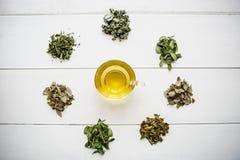 Tisana perfumada e saudável fresca em um vidro ou em uma caneca em uma superfície de madeira branca Ao lado dele várias ervas sec Imagens de Stock