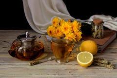 Tisana utile con il limone in una tazza fotografia stock libera da diritti