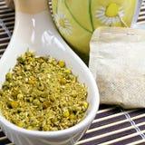 Tisane. Infusion bags of chamomile tisane Royalty Free Stock Photo