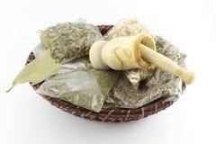 Tisane e battitore secchi imballati dell'aglio Immagine Stock