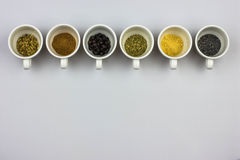 Tisane ingredients. Fennel seeds, cinnamon, juniper seeds, mallow, ginger, poppy seeds Stock Photography
