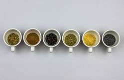 Tisane ingredients. Fennel seeds, cinnamon, juniper seeds, mallow, ginger, poppy seeds Stock Images