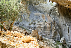 Tiscali. Archaeological site of Tiscali nuragic village in Dorgali, Sardinia, Italy Stock Photos