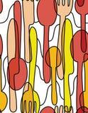 Tischbesteck-Geschirr-nahtloser Muster-Hintergrund Stockbilder