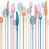 Tischbesteck-Hintergrund mit Retro- Farben stock abbildung