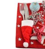 Tischbesteck und rote Serviette Lizenzfreies Stockbild