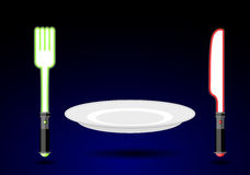 Tischbesteck von der Zukunft Messer und Gabel als helle Klinge Ein leerer Winkel des Leistungshebels vektor abbildung