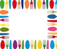 Tischbesteckfarbhintergrundmenü Stockbilder