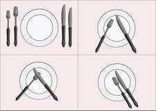 Tischbesteckmesser und -gabel Stockfoto