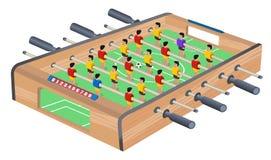 Tischfu?ball-Spiel-Hobby oder Freizeit-isometrische Ansicht Holztisch-Fußball Sportteam-Fußballspieler Für Unterhaltungssport lizenzfreie abbildung