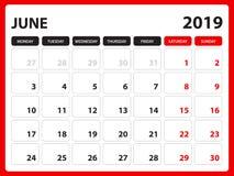 Tischkalender für Juni 2019-Schablone, bedruckbarer Kalender, Planerdesignschablone, Woche beginnt am Sonntag, Briefpapierdesign stock abbildung