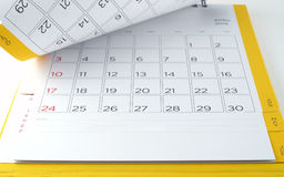 Tischkalender mit Tagen und Daten im April 2016 und Leerzeilen für Anmerkungen Stockfoto