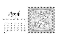 Tischkalenderschablone für Monat April Stockfoto