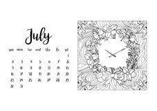 Tischkalenderschablone für Monat Juli Lizenzfreies Stockbild