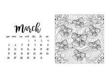 Tischkalenderschablone für Monat März Lizenzfreies Stockbild