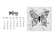 Tischkalenderschablone für Monat Mai Lizenzfreie Stockfotos