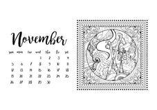 Tischkalenderschablone für Monat November Lizenzfreie Stockbilder