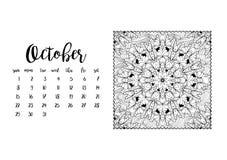 Tischkalenderschablone für Monat Oktober Lizenzfreie Stockbilder