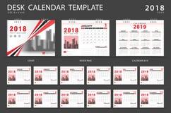Tischkalenderschablone 2018 Satz von 12 Monaten Stockfotografie