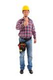Tischler, der OKAYzeichen zeigt Stockfotos