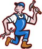 Tischler-Erbauer Hammer Running Cartoon Lizenzfreies Stockbild