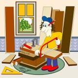 Tischler in seiner Werkstatt Stockbild