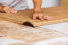 Tischlergebrauchssäge schnitt Holz für herstellen neue Möbel Stockbild