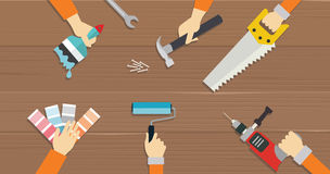 Tischlerwerkzeugbauwerkzeug-Reparaturhände sahen flache Illustration des Schraubenziehers Stockfotos