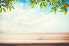 Tischplatte, Schreibtisch des blauen Himmels des leeren Raumes mit Blättern auf die Oberseite Lizenzfreies Stockfoto