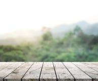 Tischplatte-und Unschärfe-Natur-Hintergrund Stockfoto