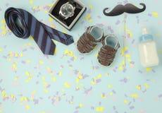 Tischplatteansicht glückliches Vatertags-Feiertagshintergrundkonzept Lizenzfreies Stockbild