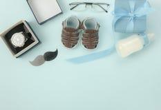 Tischplatteansicht glückliches Vatertags-Feiertagshintergrundkonzept Lizenzfreies Stockfoto